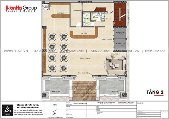 Bố trí công năng tầng 2 khách sạn tân cổ điển 3 sao tại Lạng Sơn