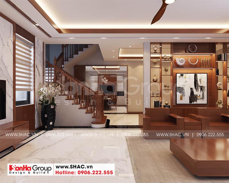 Tầng 1 ngôi biệt thự được bố trí nội thất hiện đại màu sắc tinh tế nổi bật
