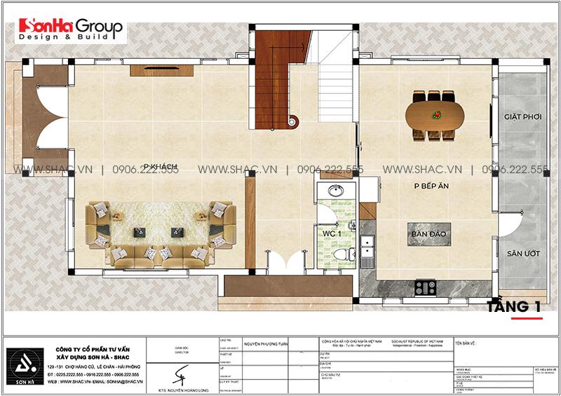 Mẫu thiết kế biệt thự hiện đại 2 tầng mái thái đẹp hoàn hảo tại Hải Phòng – SH BTD 0078 3
