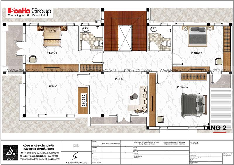 Mẫu thiết kế biệt thự hiện đại 2 tầng mái thái đẹp hoàn hảo tại Hải Phòng – SH BTD 0078 4