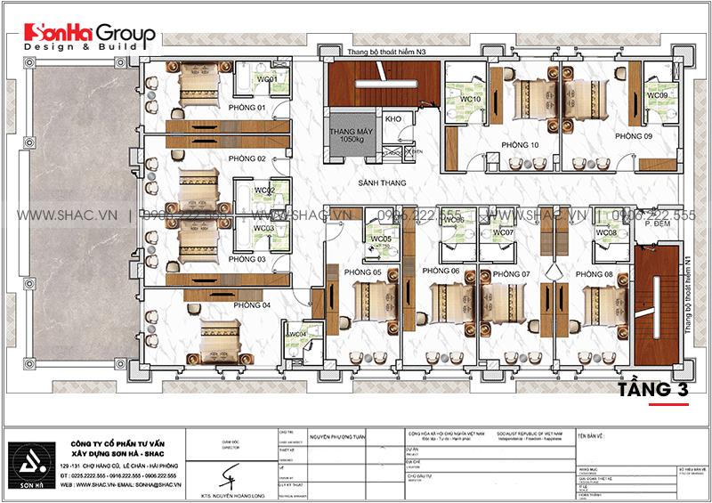 Khách sạn 6 tầng tân cổ điển tiêu chuẩn 3 sao tại Sơn La đẹp hoàn hảo – SH KS 0082 4