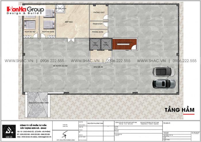 Bản vẽ bố trí công năng tầng hầm khách sạn hiện đại 3 sao tại Bình Thuận