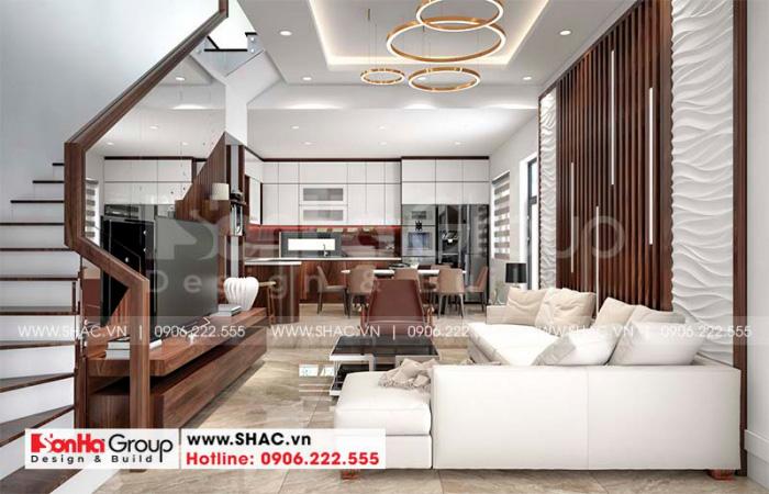 Thiết kế phòng khách hiện đại với đồ gỗ tự nhiên và bộ sofa cao cấp