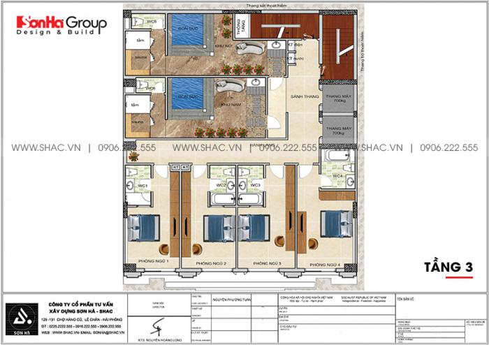 Bố trí công năng tầng 3 khách sạn tân cổ điển 3 sao tại Lạng Sơn