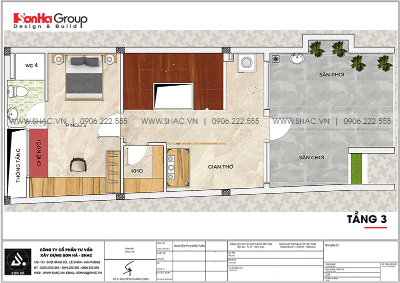Mẫu nhà ống hiện đại 3 phòng ngủ 5,57x18,21m tại Hải Phòng giản dị mà đẹp mắt – SH NOD 0129 5