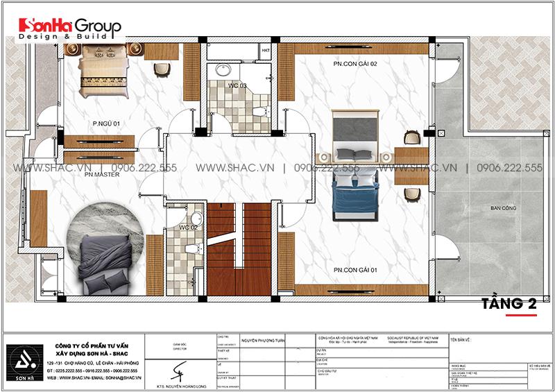 Mẫu thiết kế biệt thự hiện đại 3 tầng có gara ô tô tại Hải Phòng - SH BTD 0079 6
