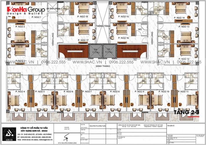 Bản vẽ bố trí công năng tầng 2 và 3 khách sạn hiện đại 3 sao tại Bình Thuận