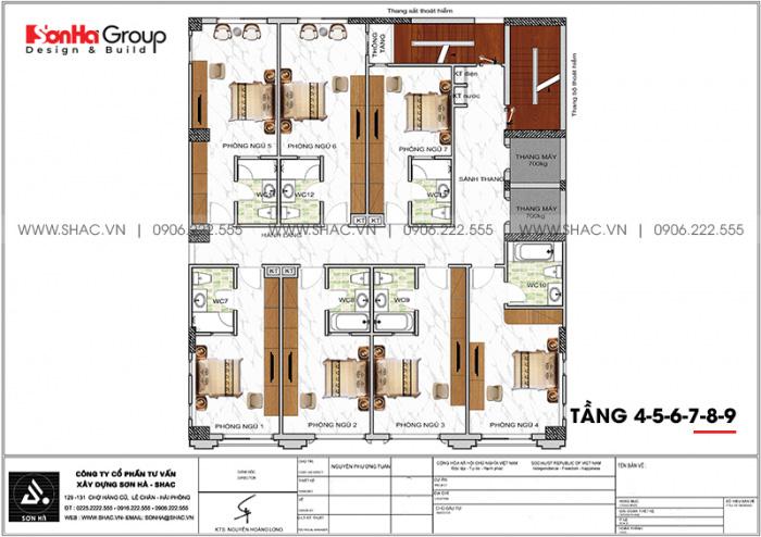 Bố trí công năng tầng 4 đến 9 khách sạn tân cổ điển 3 sao tại Lạng Sơn
