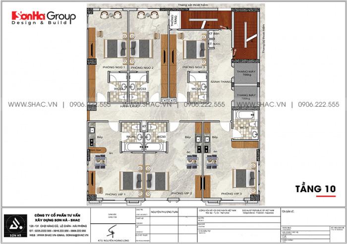 Bố trí công năng tầng 10 khách sạn tân cổ điển 3 sao tại Lạng Sơn