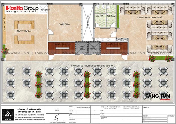 Bản vẽ bố trí công năng tầng tum khách sạn hiện đại 3 sao tại Bình Thuận