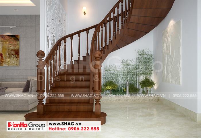 Thiết kế cầu thang gỗ được tính toán nhịp phong thủy cho ngôi nhà