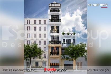BÌA thiết kế nhà ống tân cổ điển 6 tầng mặt tiền 4m tại hà nội sh nop 0209
