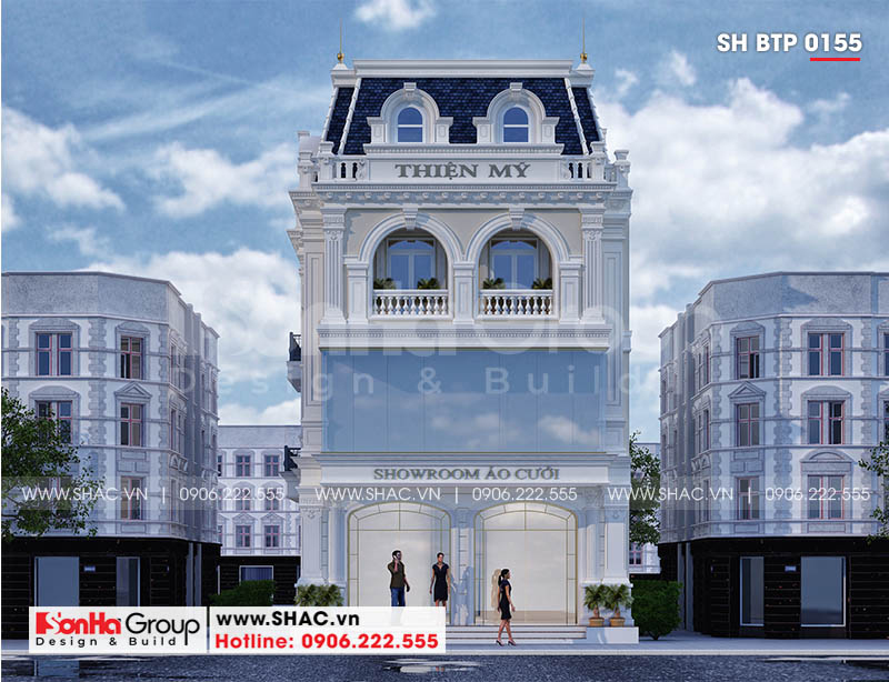 Thiết kế biệt thự tân cổ điển 3 tầng với mặt tiền thoáng đãng đẹp mắt
