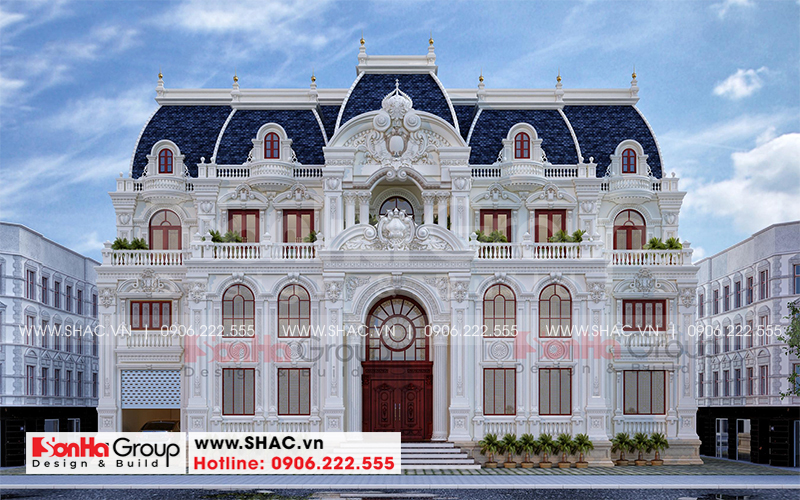 Mặt tiền biệt thự 3 tầng 1 tum phong cách lâu đài cổ điển