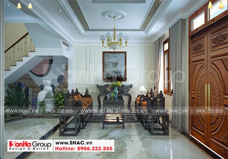 Thiết kế nội thất phòng khách đẹp với gạch lát nền nhập khẩu châu Âu