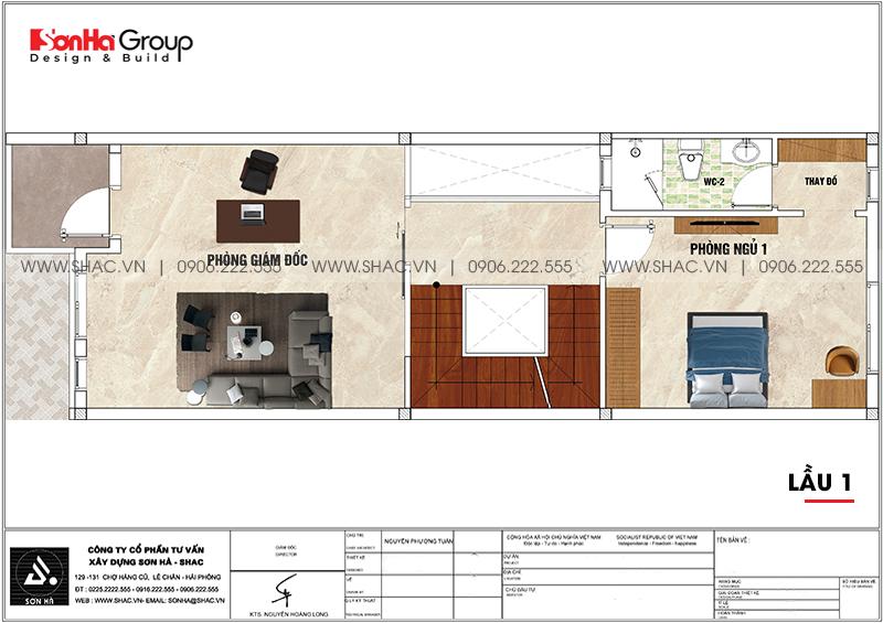Mặt bằng bố trí công năng lầu 1 nhà phố 4 tầng hiện đại mặt tiền 5m