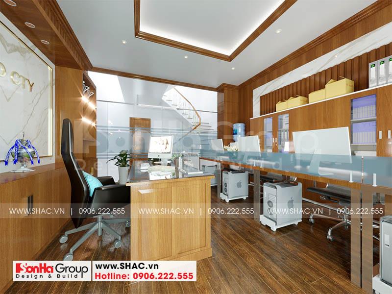Thiết kế nội thất phòng làm việc với đồ nội thất gỗ tạo hình đẹp