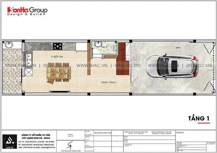 Mặt bằng bố trí công năng tầng 1 nhà ống hiện đại 3 phòng ngủ tại Hải Phòng