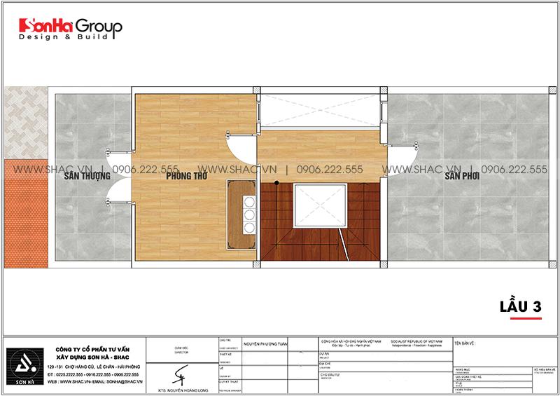 Mặt bằng bố trí công năng lầu 3 nhà phố 4 tầng hiện đại mặt tiền 5m
