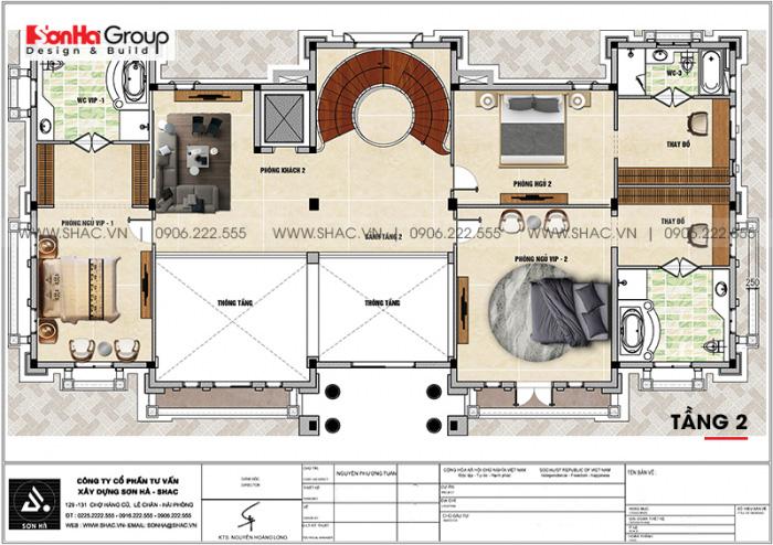 Bố trí công năng tầng 2 biệt thự lâu đài pháp 3 tầng 1 tum tại Vĩnh Phúc