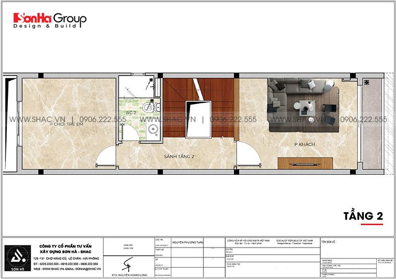 Thiết kế nhà ống hiện đại 3 phòng ngủ phong thủy tại Hải Phòng - SH NOD 0223 5