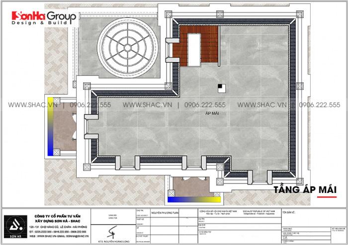Mặt bằng công năng tầng áp mái biệt thự tân cổ điển 2 mặt tiền tại Hải Phòng