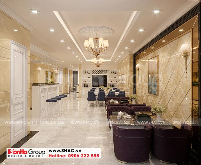 Không gian nội thất tần 1 của khách sạn tân cổ điển được bố trí hài hòa