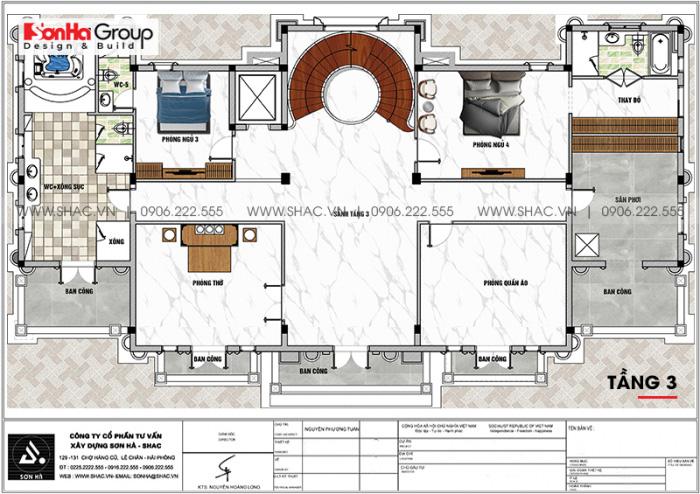 Bố trí công năng tầng 3 biệt thự lâu đài pháp 3 tầng 1 tum tại Vĩnh Phúc