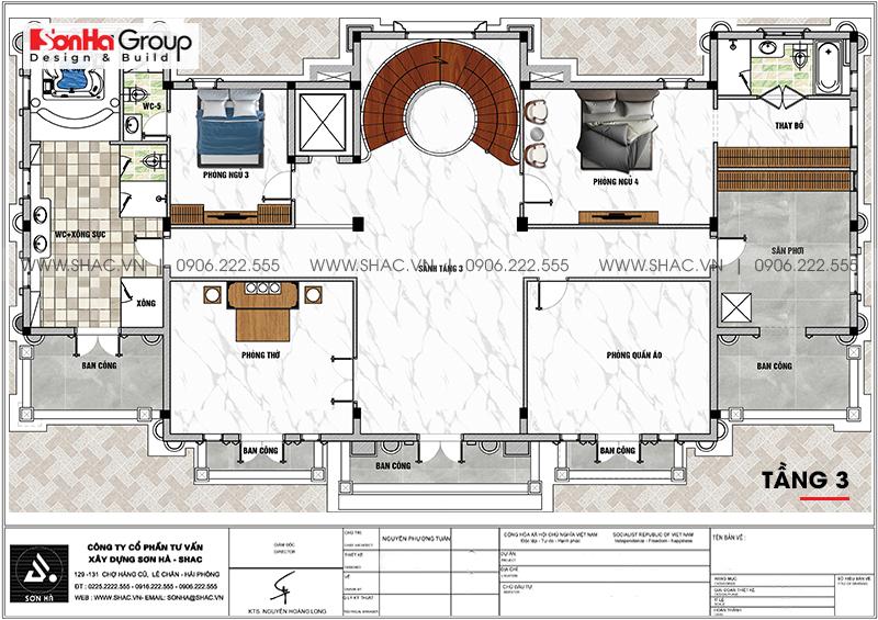 Tròn mắt với biệt thự lâu đài 3 tầng 1 tum tại Vĩnh Phúc thiết kế xa hoa – SH BTLD 0045 7