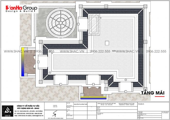 Mặt bằng công năng tầng mái biệt thự tân cổ điển 2 mặt tiền tại Hải Phòng
