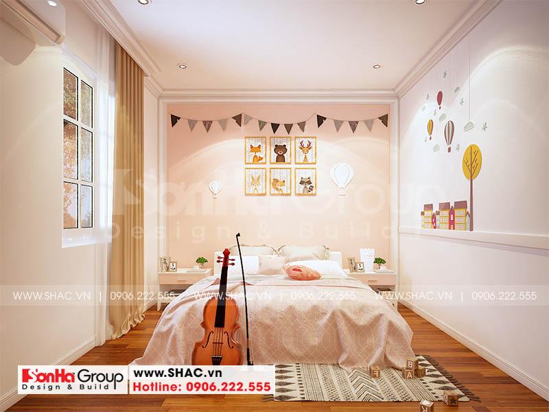 Thiết kế phòng ngủ bé gái nhẹ nhàng và thanh nhã gam màu hồng nhạt