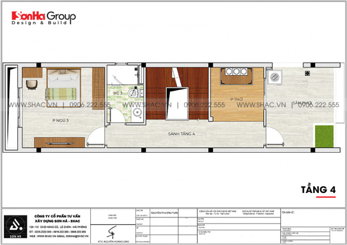 Mặt bằng bố trí công năng tầng 4 nhà ống hiện đại 3 phòng ngủ tại Hải Phòng