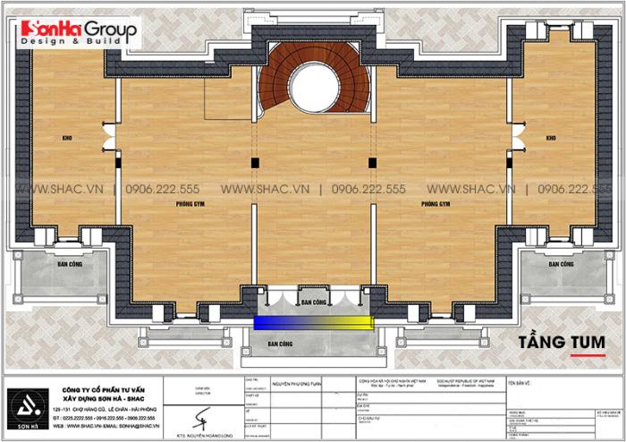 Bố trí công năng tầng tum biệt thự lâu đài pháp 3 tầng 1 tum tại Vĩnh Phúc