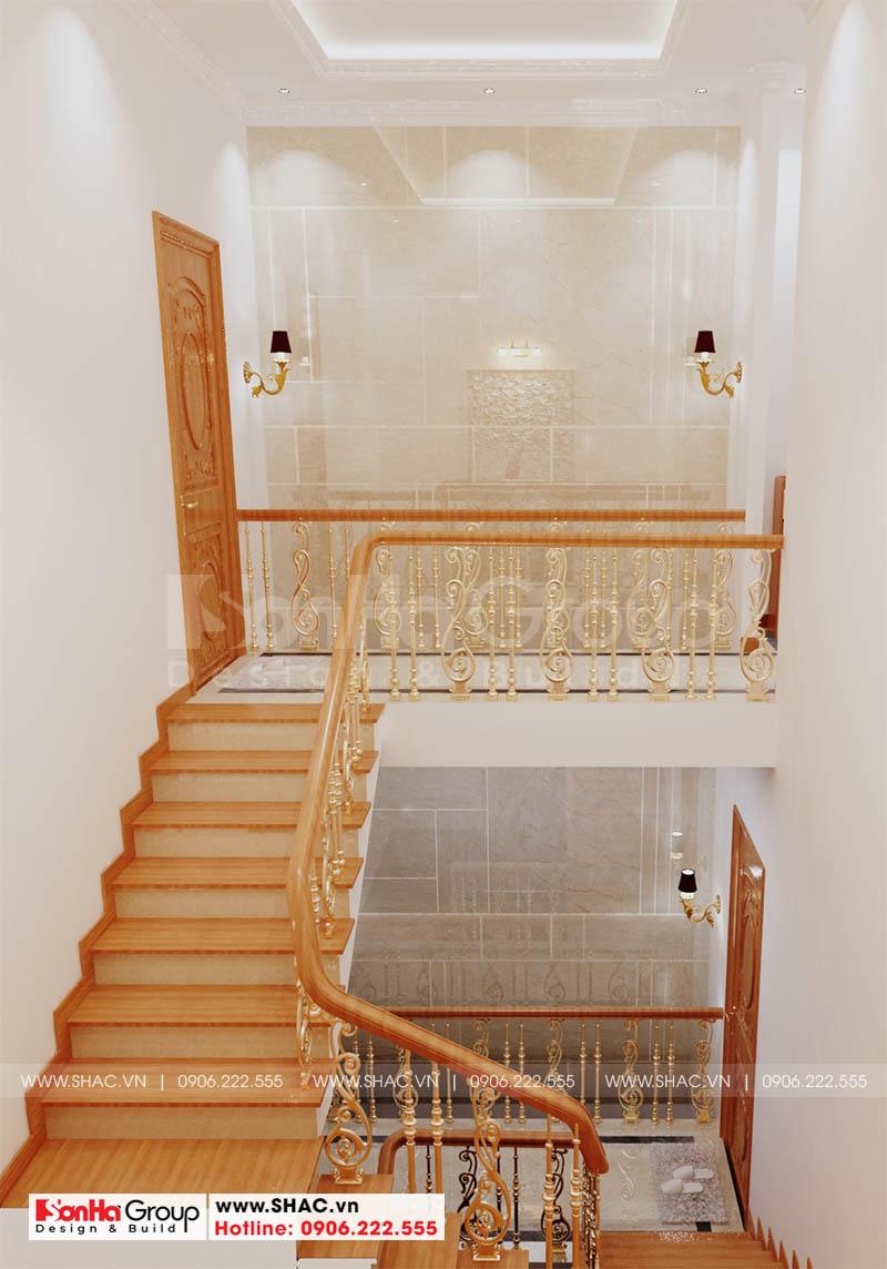Thiết kế sảnh thang mang nét hoài cổ và phù hợp với không gian nội thất