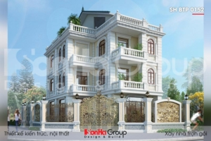 BÌA thiết kế biệt thự tân cổ điển 3 tầng 1 tum 2 mặt tiền tại hà nội sh btp 0152