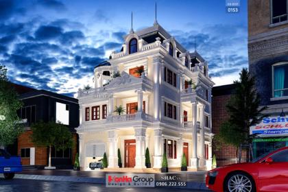 Biệt thự tân cổ điển 3 tầng kiểu pháp mặt tiền 10m