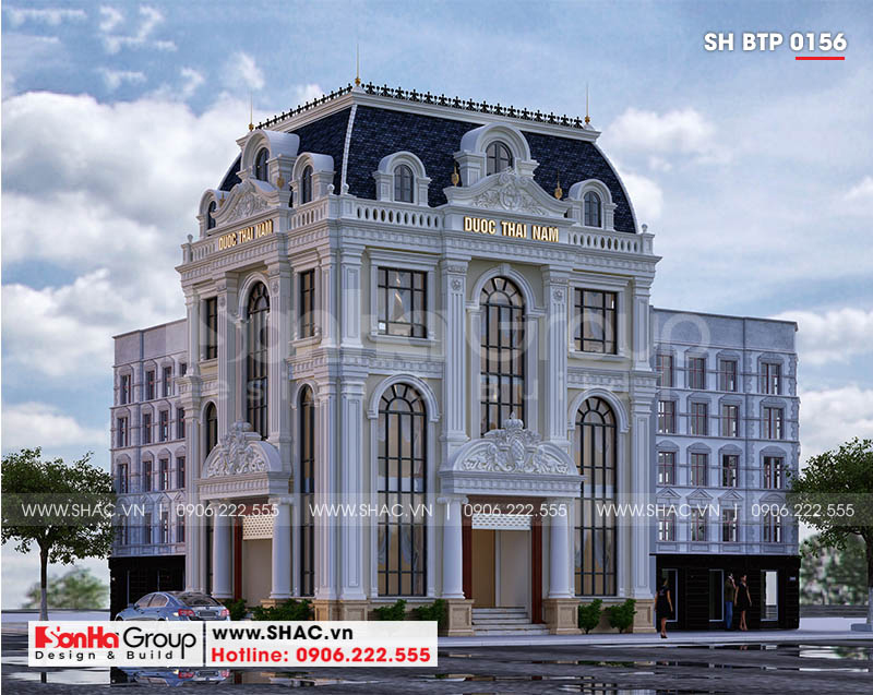 Biệt thự tân cổ điển 3 tầng kết hợp văn phòng và khu trưng bày tại Hà Nội