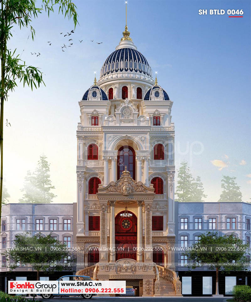 Mẫu biệt thự đẹp 6 tầng phong cách lâu đài châu Âu sang trọng đẳng cấp