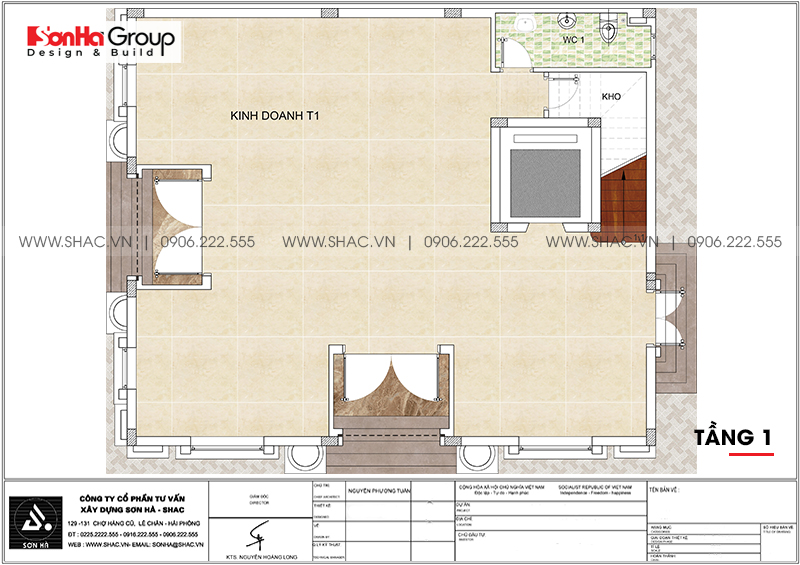 Bản vẽ mặt bằng công năng tầng 1 biệt thự tân cổ điển 3 tầng tại Hà Nội
