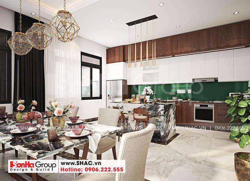 Mẫu phòng bếp đẹp điển hình cho thiết kế nội thất nhà ống của Sơn Hà Group