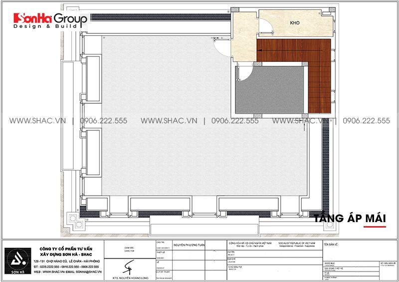 Bản vẽ mặt bằng công năng tầng áp mái biệt thự tân cổ điển 3 tầng tại Hà Nội
