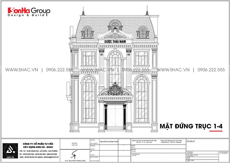 Bản vẽ mặt đứng trục 1-4 của ngôi biệt thự 2 mặt tiền tại Hà Nội