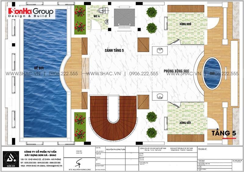 Bố trí công năng tối ưu tầng 5 biệt thự lâu đài cổ có bể bơi tại Hà Nội