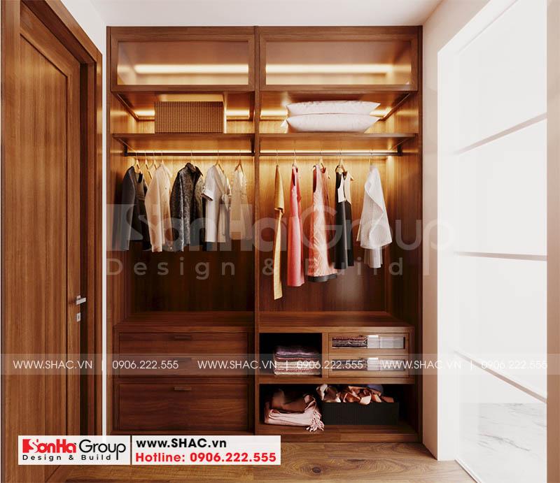 Khu thay đồ với nội thất gỗ tự nhiên nâng tầm không gian sống