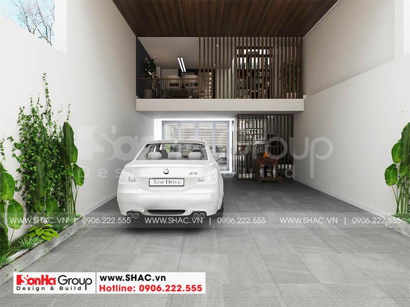 Thiết kế nội thất gara nhà phố hiện đại 3 tầng kết hợp văn phòng