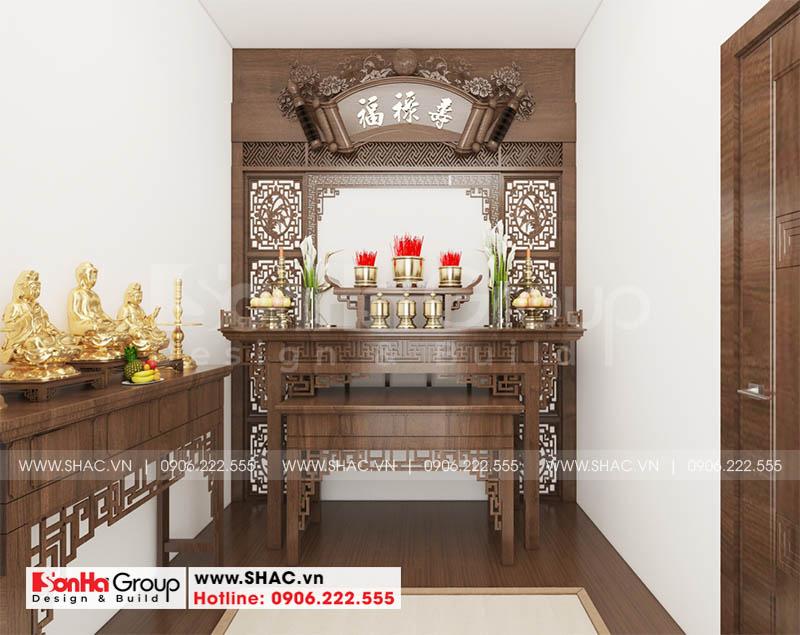 Thiết kế nội thất phòng thờ tôn nghiêm của nhà phố hiện đại tại Sài Gòn