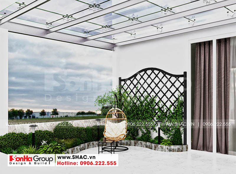 Tiểu cảnh sân vườn thiết kế thoáng đãng trên tầng thượng ngôi nhà