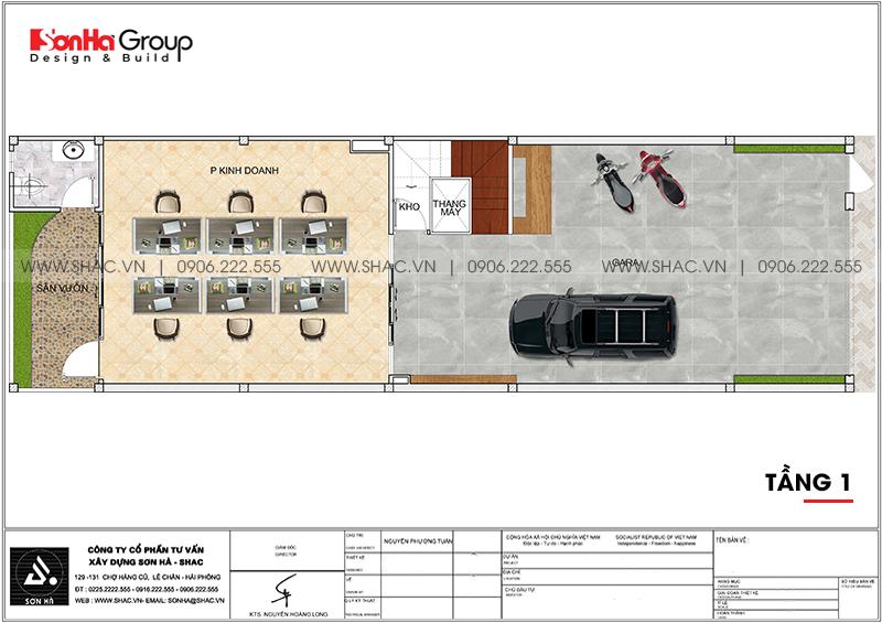 Mặt bằng bố trí công năng tầng trệt nhà phố 3 tầng hiện đại kết hợp văn phòng