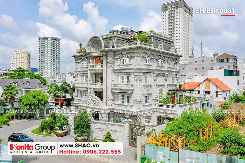 Hình ảnh thực tế của biệt thự 4 tầng xa hoa phong cách tân cổ điển