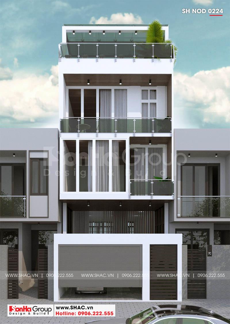 Thiết kế nhà ống 3 tầng hiện đại đẹp với các đường nét tạo hình tinh tế